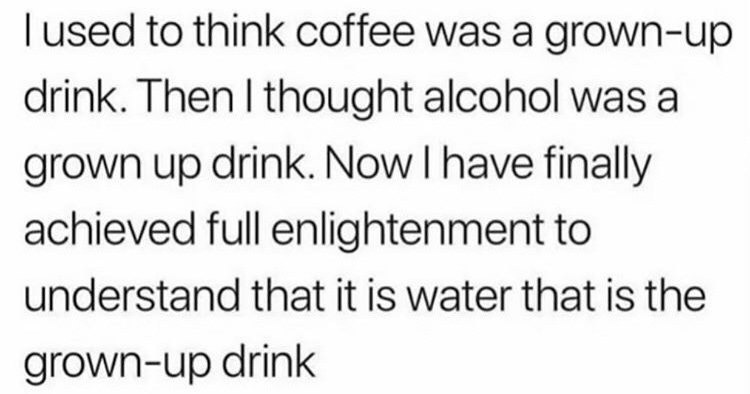 Funny tweets and relatable tweets, tweets about drinking, tweets about partying, tweet about how water is the grown-up drink.