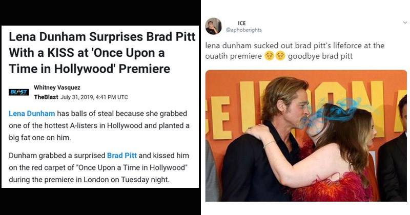 Cringey memes and tweets about Lena Dunham kissing Brad Pitt