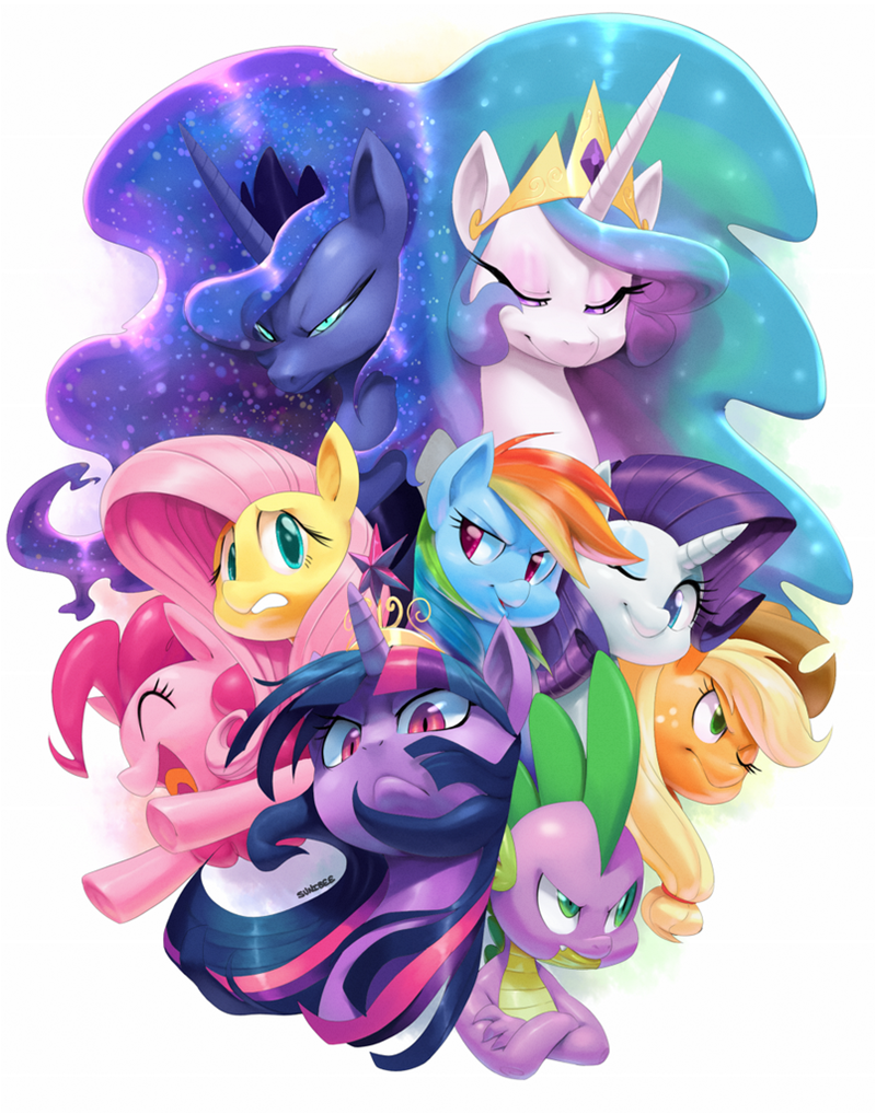 applejack fluttershy princess celestia princess luna pinkie pie twilight sparkle rarity rainbow dash spike - 8964699904