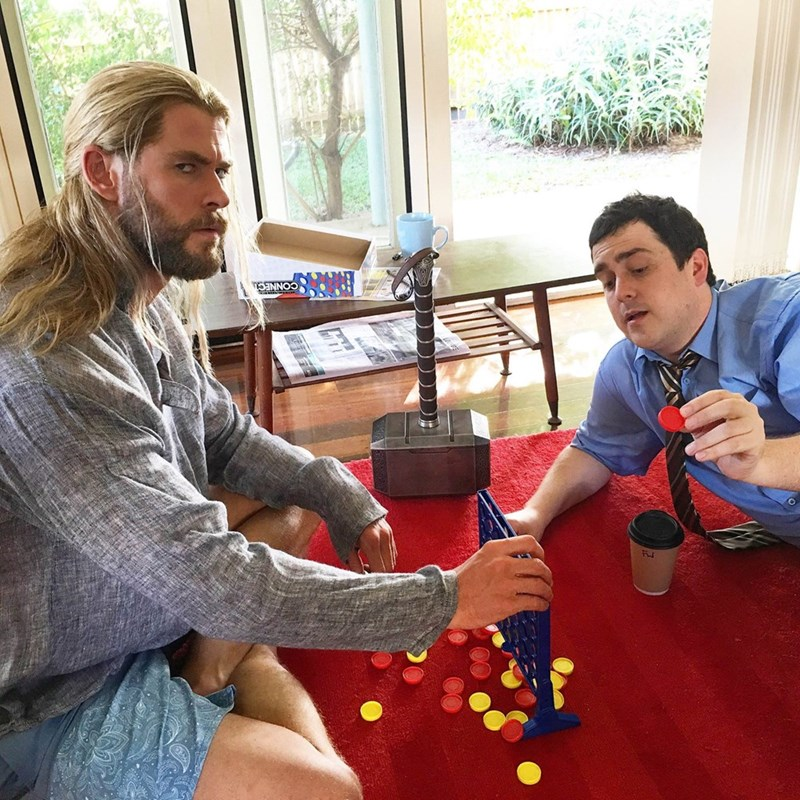 Thor Always Makes Time for Connect Four