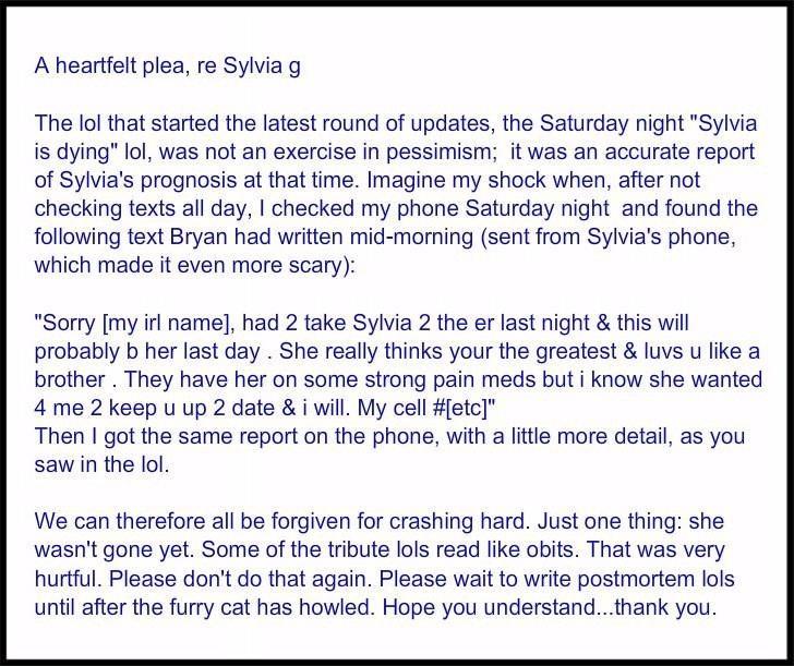 A heartfelt plea, re Sylvia g