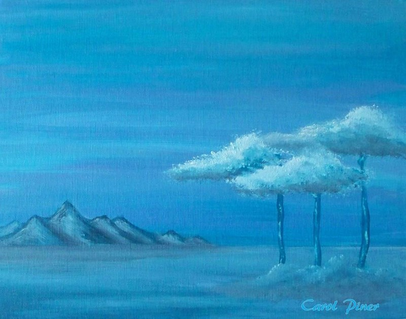 """My painting I called """"My Blue Vista"""". 11x14"""" canvas board"""