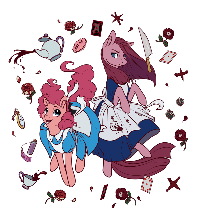 alice in wonderland,pinkamena diane pie,pinkie pie