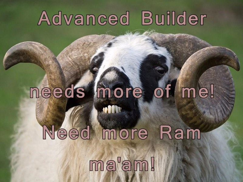 Advanced Builder needs more of me! Need more Ram ma'am!