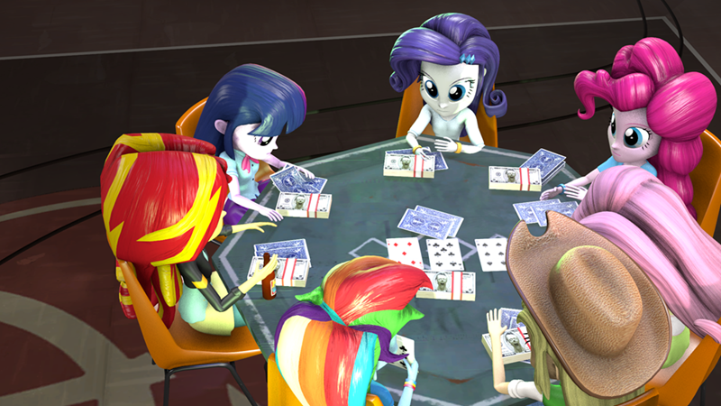 applejack,equestria girls,twilight sparkle,pinkie pie,rarity,sunset shimmer,poker,fluttershy,rainbow dash,sfm