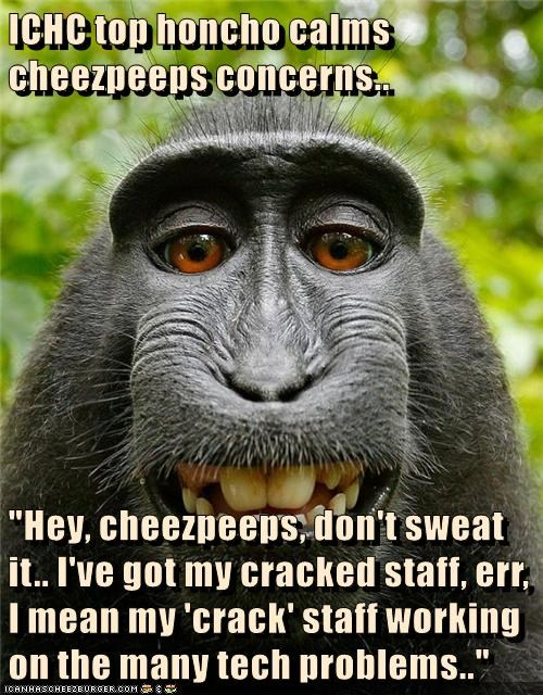 """ICHC top honcho calms cheezpeeps concerns..  """"Hey, cheezpeeps, don't sweat it.. I've got my cracked staff, err, I mean my 'crack' staff working on the many tech problems.."""""""