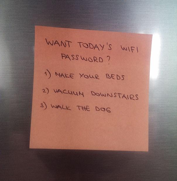 todays wifi password is chores