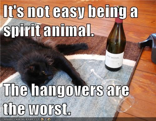 It's not easy being a spirit animal.  The hangovers are the worst.