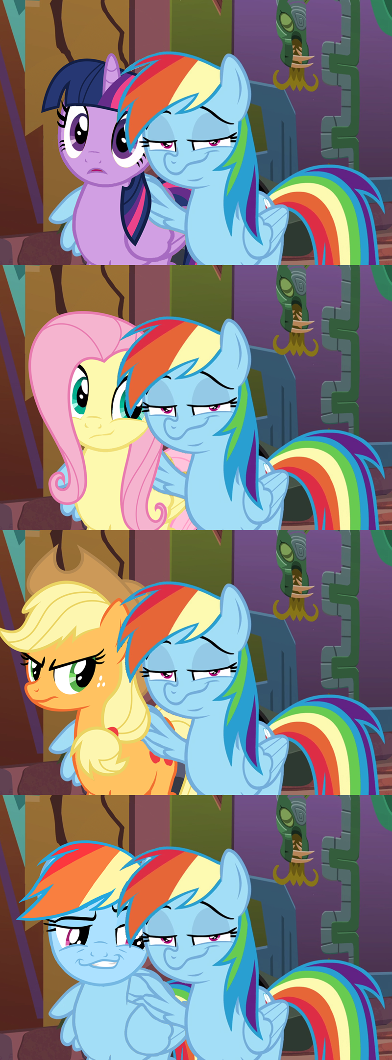 applejack,twilight sparkle,stranger than fan fiction,fluttershy,rainbow dash