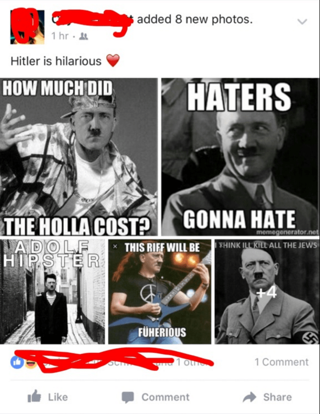 funny facebook image hitler memes are funny because you're racist