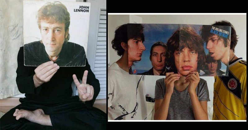 Pictures of people blending in with famous album covers