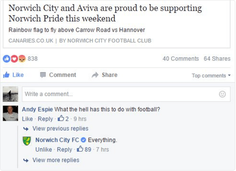 funny facebook image soccer club shuts down homophobe with one-word response