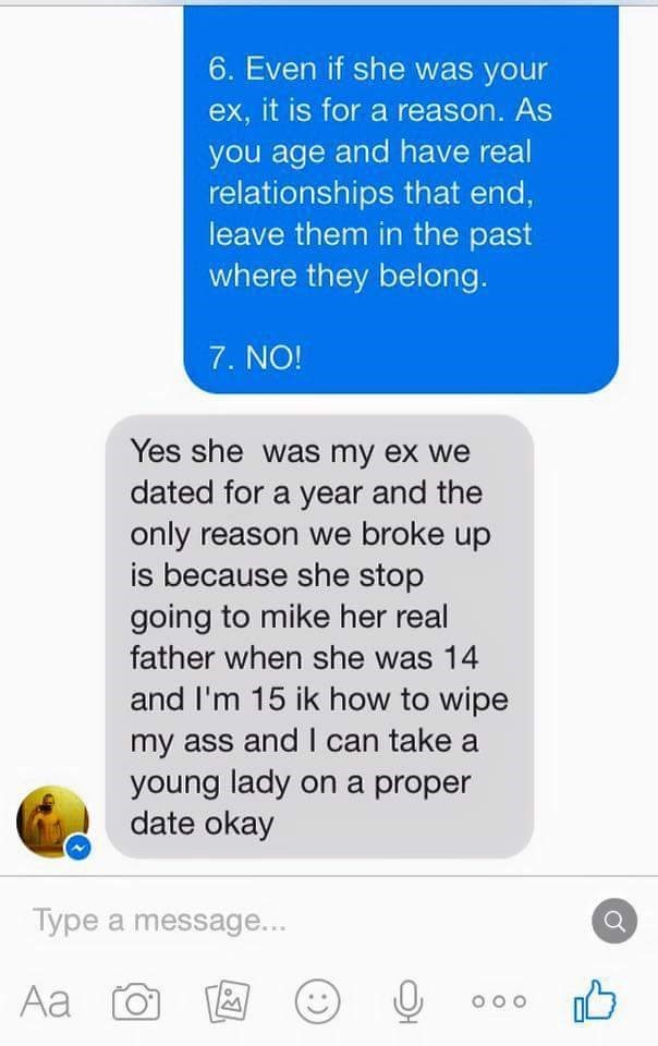 Guy texting Dad of his ex-girlfriend proceeds to open mouth and insert foot.