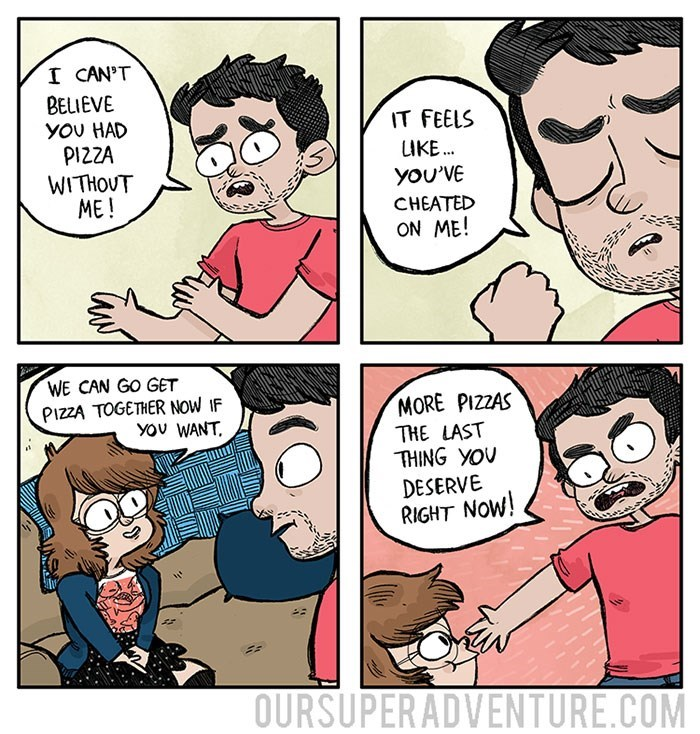 funny dating web comic betrayed with pizza oursuperadventure