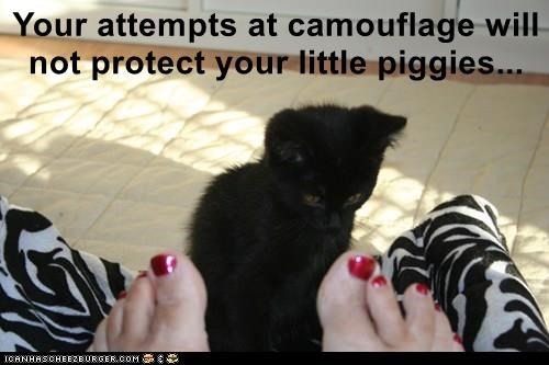 Your attempts at camouflage will not protect your little piggies...