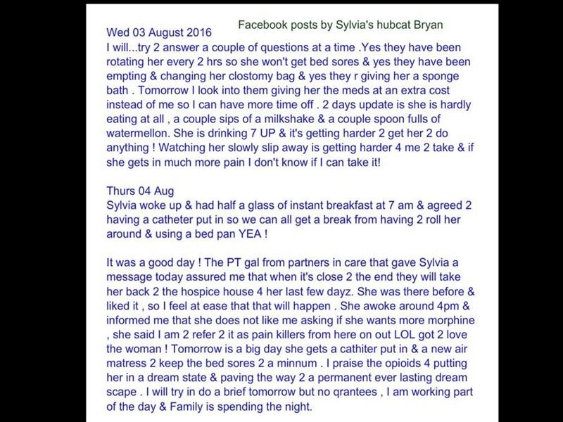 Sylvia, Wed 03/Thurs 04 2016; Bryan's updates