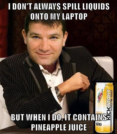 I DON'T ALWAYS SPILL LIQUIDS ONTO MY LAPTOP  BUT WHEN I DO, IT CONTAINS PINEAPPLE JUICE