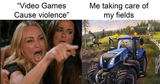 Funny memes and tweets about how video games do not cause violence, gaming memes, dank memes, reddit memes, r/dank memes, mass shootings | Video Games Cause violence taking care my fields farming simulator woman yelling at cat meme |