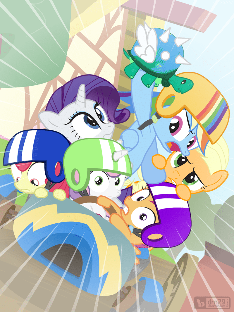 applejack,Sweetie Belle,apple bloom,Mario Kart,tank,rarity,the cart before the ponies,Scootaloo,rainbow dash