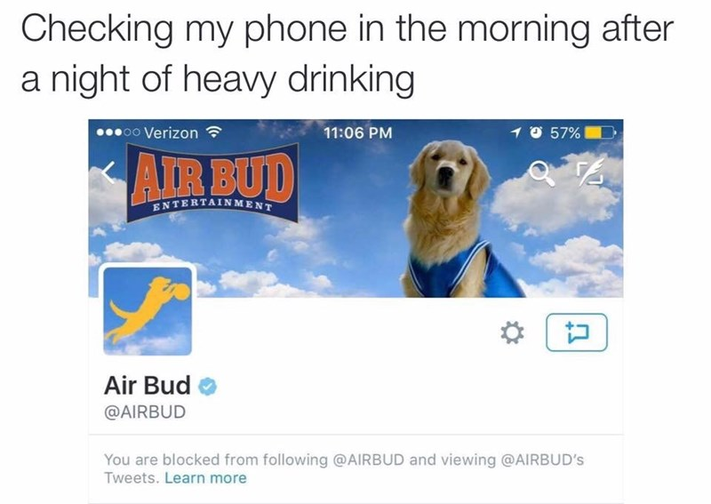 drinking,twitter,air bud