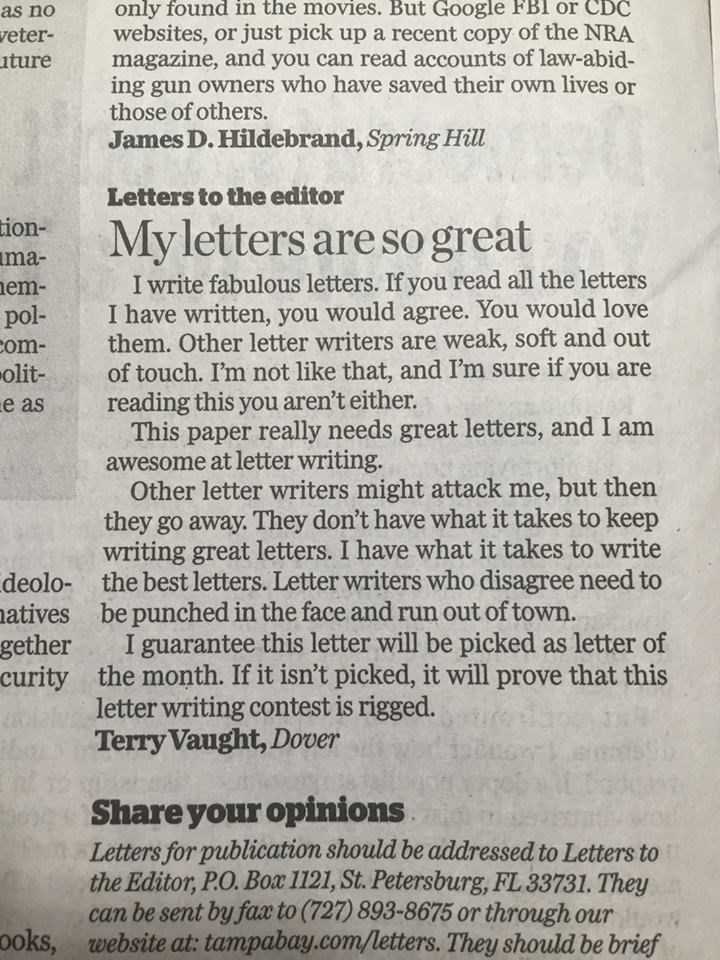 funny political image clever letter to the editor parodies Donald Trump's speaking style