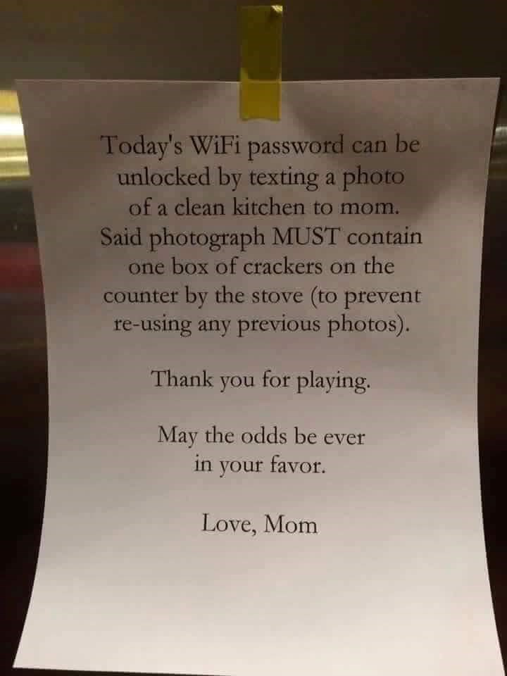 win clever mother makes kid do chores for wifi passwrod