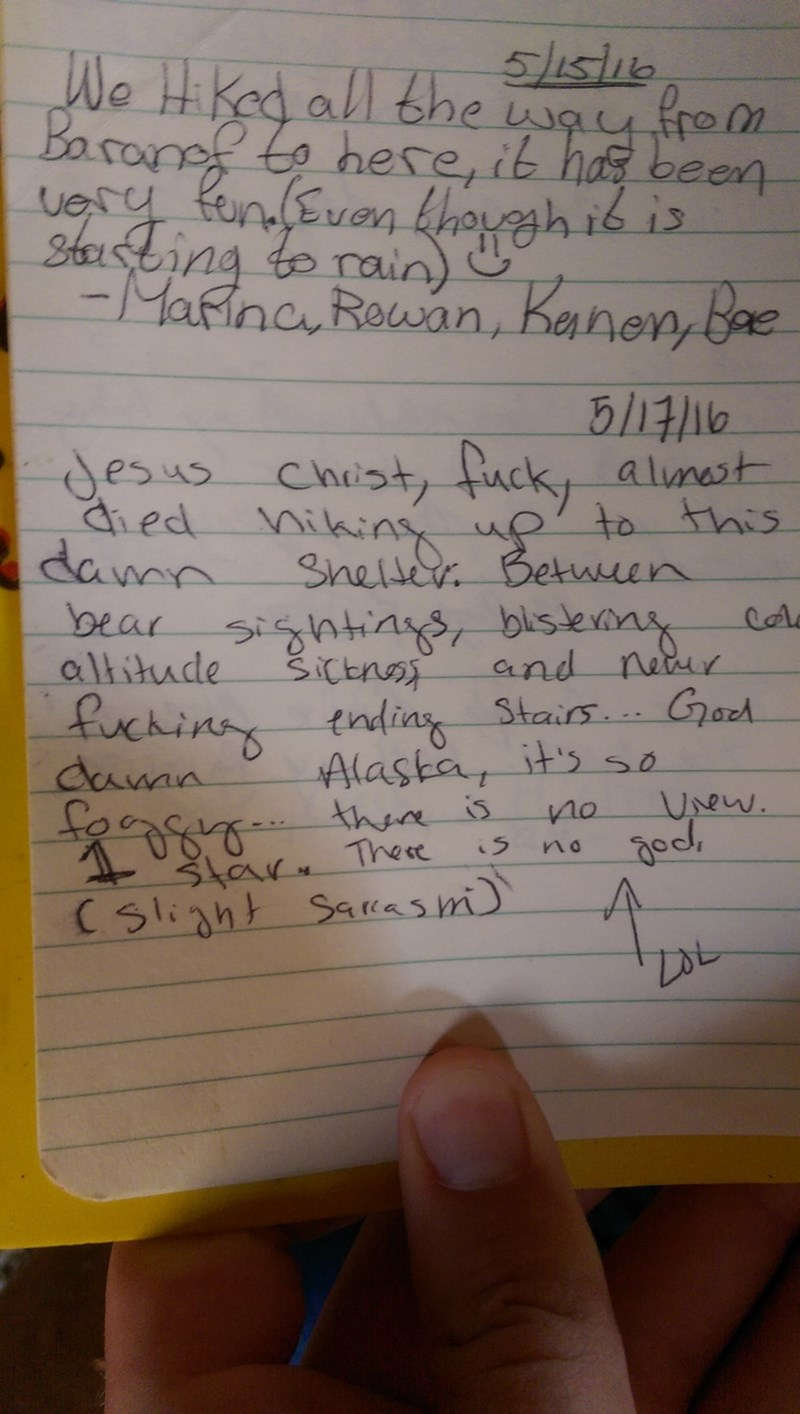 funny win image trail log book in Alaska gets one bad review from hiker