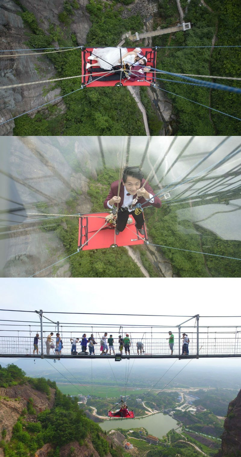 win Chinese couple marries in a hammock suspended 180 meters up at Shiniuzhai National Geopark