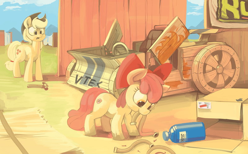 applejack,apple bloom,the cart before the ponies