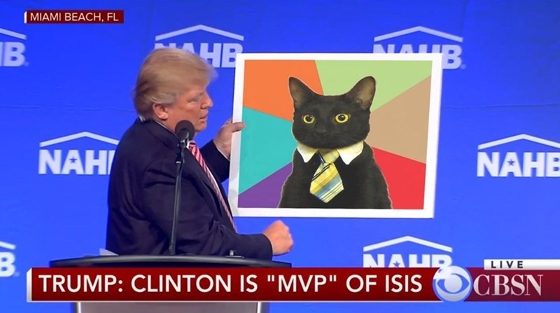 "Cat - MIAMI BEACH, FL NB HE B NAHE NAH NAHR LIVE CBSN TRUMP: CLINTON IS ""MVP"" OF ISIS"