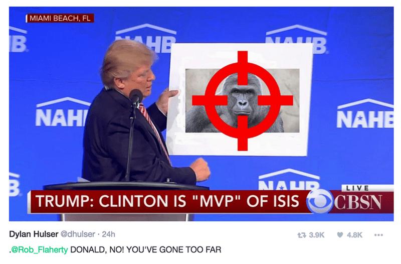 "MIAMI BEACH, FL HB B NAH NAHE ΑΜΕ LIVE TRUMP: CLINTON IS ""MVP"" OF ISIS CBSN Dylan Hulser @dhulser 24h 4.8K t3 3.9K .@Rob_Flaherty DONALD, NO! YOU'VE GONE TOO FAR"