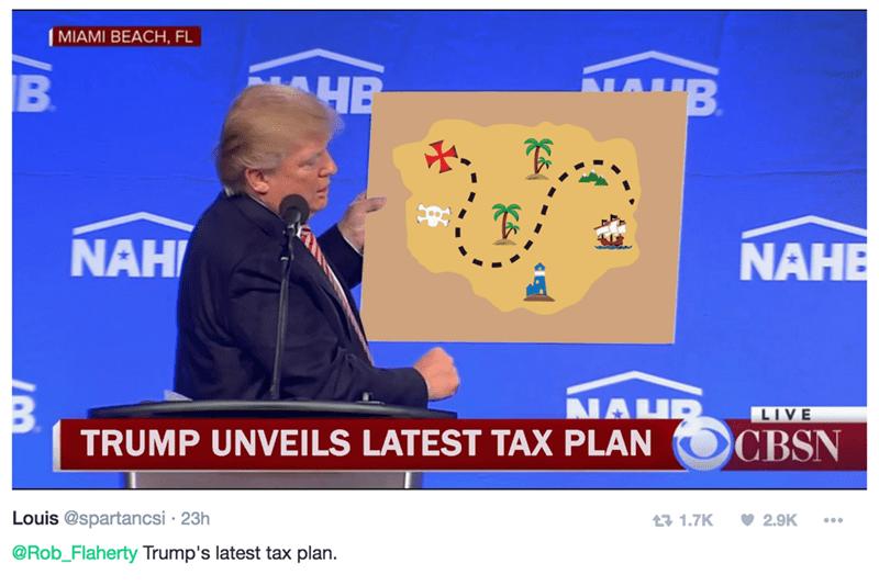 MIAMI BEACH, FL B HB NAH NAHE NAHP TRUMP UNVEILS LATEST TAX PLAN LIVE CBSN Louis @spartancsi 23h t 1.7K 2.9K @Rob_Flaherty Trump's latest tax plan