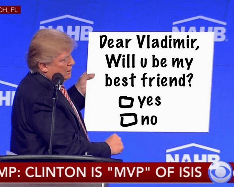 """Spokesperson - CH, FL B HE Dear Vladimir, Will u be my best friend? HI Oyes Dno NAHR MP: CLINTON IS """"MVP"""" OF ISIS"""