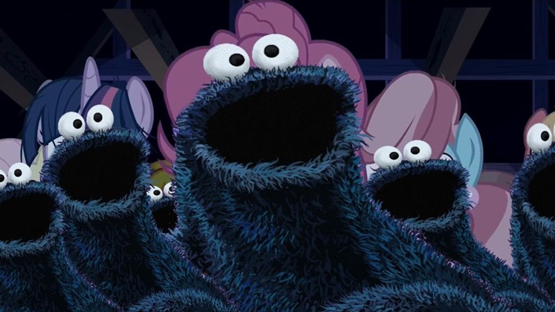 28 pranks later,Cookie Monster,twilight sparkle,pinkie pie,mrs cake,fluttershy