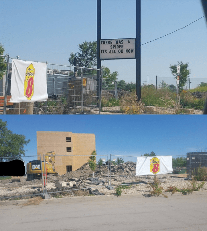funny win sign motel renovations due to spider