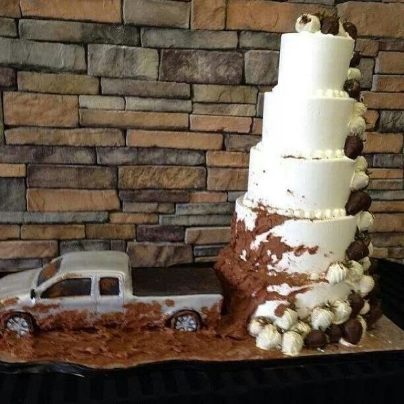 murica,wedding,wedding cake,trucks