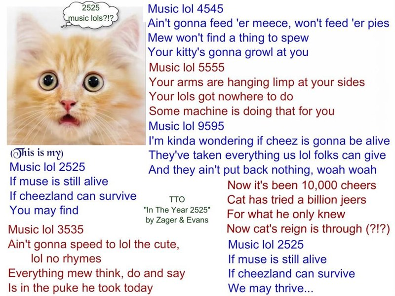 """""""Music Lol 2525"""" (TTO """"In The Year 2525"""" by Zager & Evans) (recaption: http://tinyurl.com/jrhj2qt"""