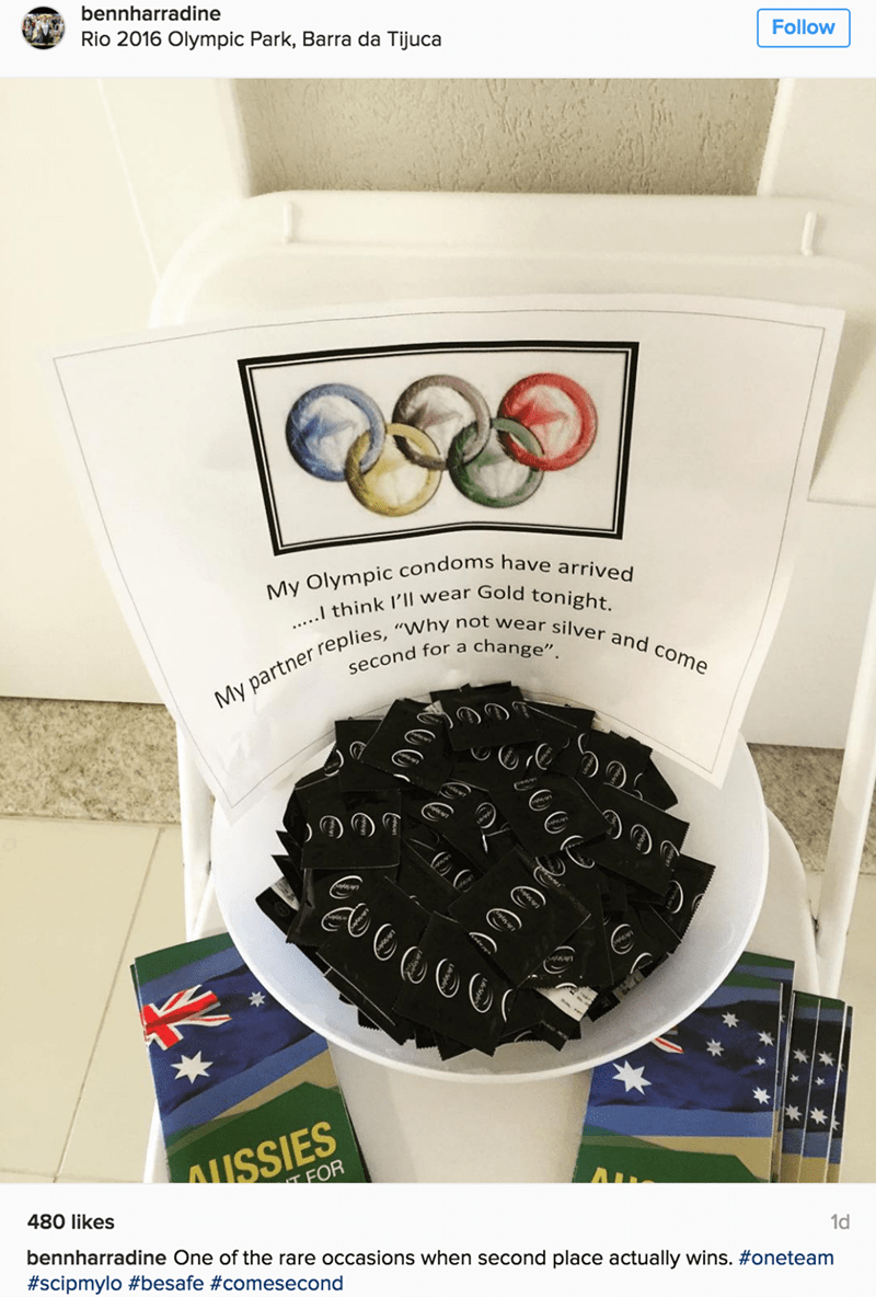 win funny sports sign olympics condoms for finishing second pun
