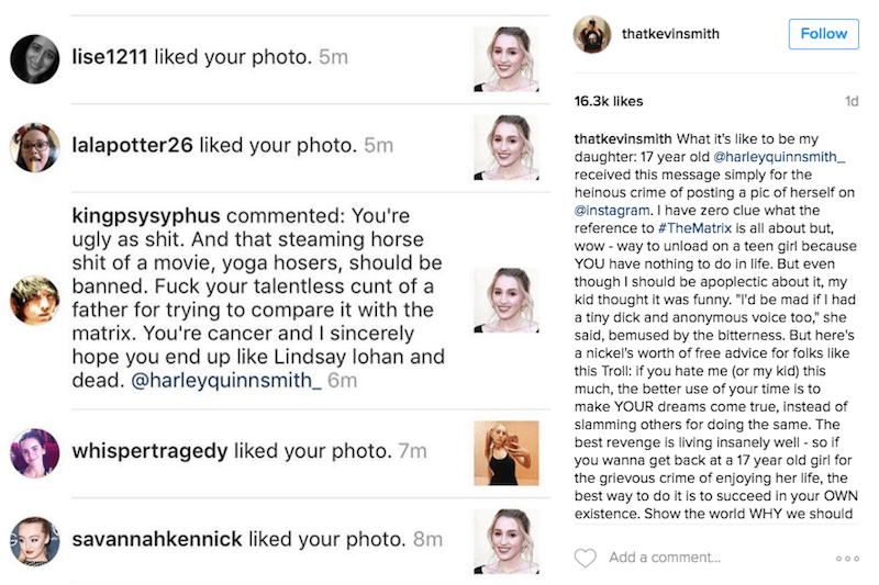harley quinn instagram troll kevin smith lesson