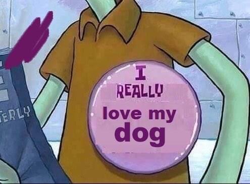 wholesome meme - Cartoon - REALLU love my dog ERLA