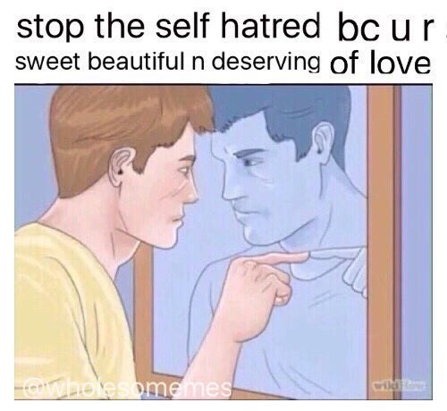 wholesome meme - Face - stop the self hatred bc ur sweet beautiful n deserving of love Owholesomemes