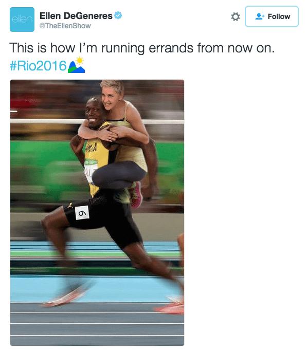 Athlete - ellen Ellen DeGeneres Follow @TheEllenShow This is how I'm running errands from now on. #Rio2016, 6