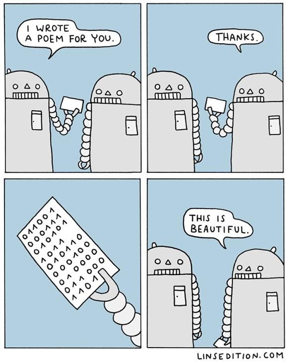 web comics robots poetry You're a Robot of Binary Talent