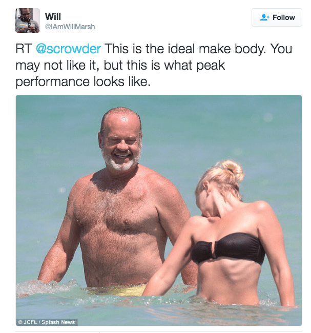 Fun - Will Follow @IAmWillMarsh RT @scrowder This is the ideal make body. You may not like it, but this is what peak performance looks like. © JCFL Splash News
