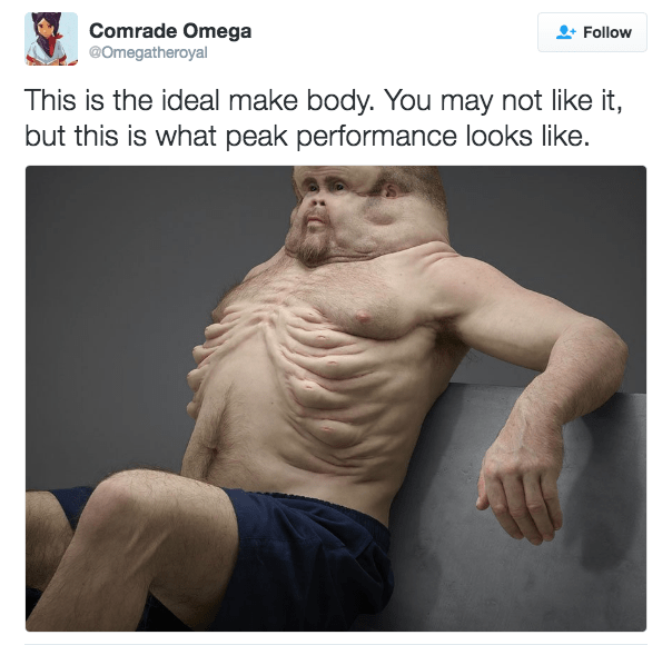 Arm - Comrade Omega @Omegatheroyal Follow This is the ideal make body. You may not like it, but this is what peak performance looks like.
