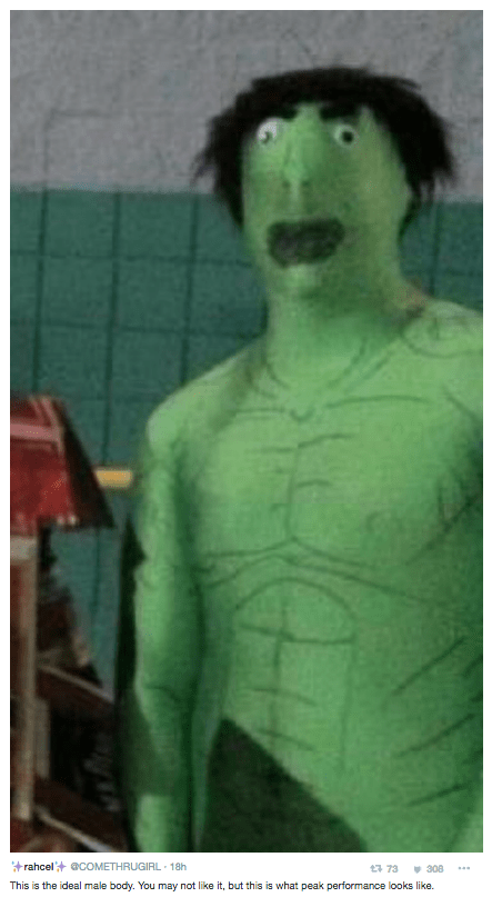 Green - rahcel COMETHRUGIRL 18h t 73 308 This is the ideal male body. You may not like it, but this is what peak performance looks like.