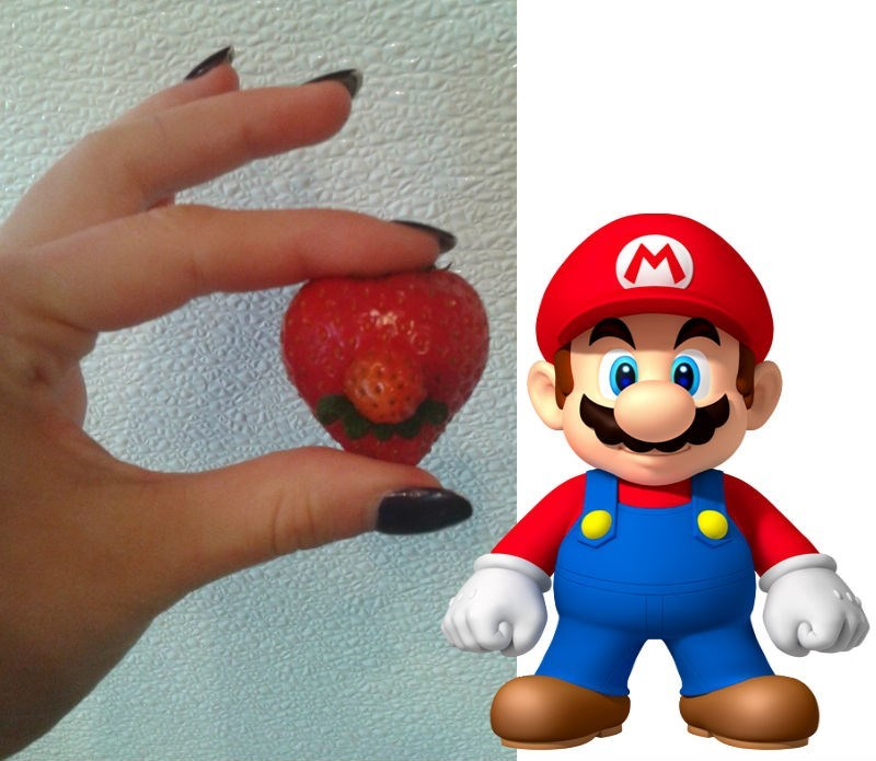 win strawberry looks like mario with mustache