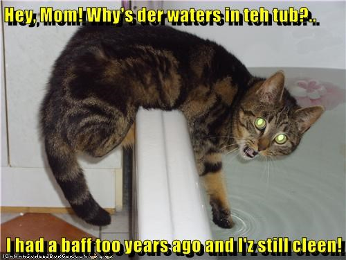 Hey, Mom! Why's der waters in teh tub?..  I had a baff too years ago and I'z still cleen!