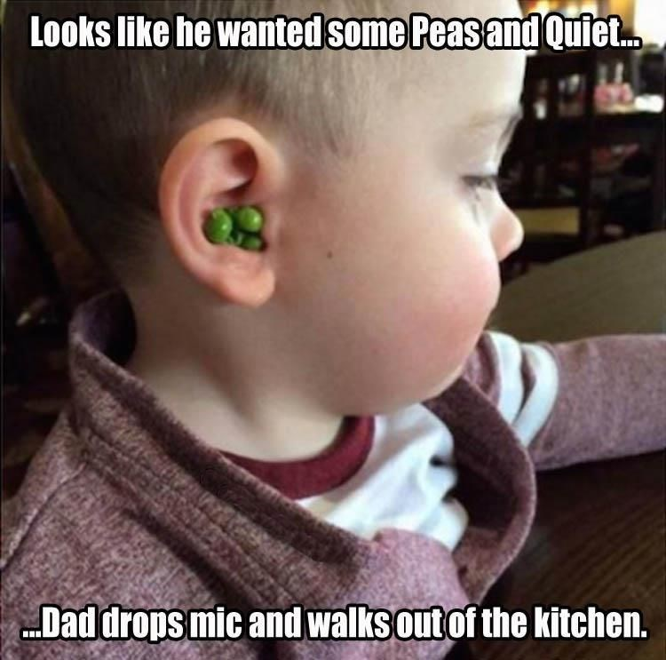Babies dad jokes parenting peas