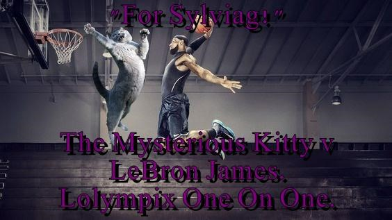"""For Sylviag!""  The Mysterious Kitty v                    LeBron James.                    Lolympix One On One."
